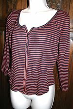 We The Free People striped thermal knit top M red blue