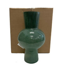 "West Elm Jade Colored Glass Vases Large Vase Green NEW 8.9""diam. x 15.75""h."