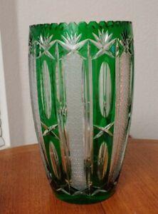 Beautiful Czech Bohemian Crystal Green Cut to Clear Barrel Vase