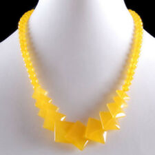 Yellow Jade Quadrate Piece 18KWGP Clasp Women Lady Girl Party Event Necklace