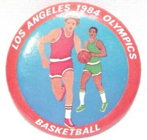 """Vintage 1984 Los Angeles Olympics Basketball 2 1/8"""" Button Pin LA Button & Co"""