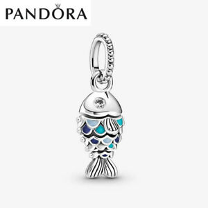 ALE S925 Genuine Silver Pandora Blue Scaled Fish Dangle Charm With Gift Box
