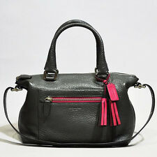 NWT Coach Legacy Textured Leather Molly Satchel  21140 Silver/Graphite Berry