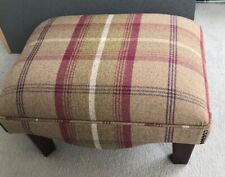 Footstool Balmoral Heather with dark solid wood legs