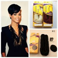4'' Short Nature 27 Pieces+1 Closure Hair Weave 100%Virgin Human Hair Extensions