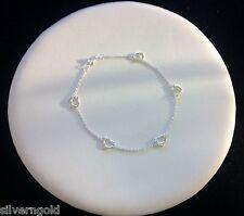 Anklet-Ankle Bracelet-Sterling Silver .925-Open Hearts-Floating Heart-Adjustable