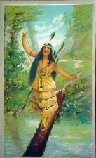 Indian Maiden walking on Log 1905 litho