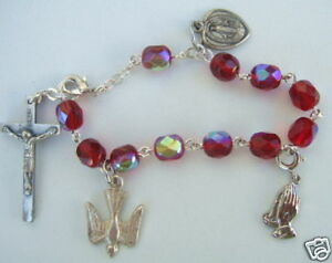 Catholic CHARM BRACELET Red glass beads (child/teen)  with 4 medals