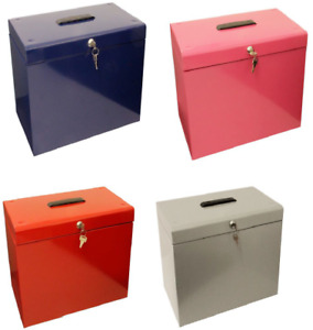 A4 Metal File Filing Box  Office Storage Lockable 5 Free Suspension Files New