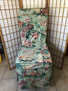 Four vtg Asian Waverly Fabric Upholstery Floral Chair Slip Covers Dining table
