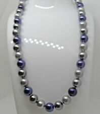 Beautiful Classic Dark Blue and Grey Shell Pearl Necklace