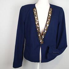 BCBG MAXAZRIA Cain  Jacket size L navy blue studs blazer top cz