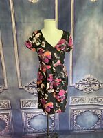 Banana Republic V-Neck Cap Sleeve Linen Sheath Dress 8P Painted Floral Charcoal