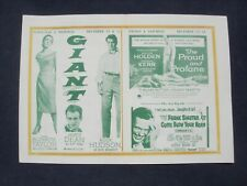 """GIANT"" - ELIZABETH TAYLOR, ROCK HUDSON, AND JAMES DEAN - THEATRE/FLYER PROGRAM"