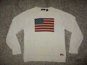 VTG POLO RALPH LAUREN RL 100% COTTON USA AMERICAN FLAG SWEATER XL CREAM