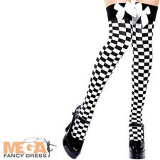 Black and White Chequered Stockings Alice Wonderland Fairytale Costume Stockings