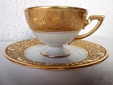 Kaffeetasse mit Untertassse böhmisches Porzellan Pirkenhammer, Echtgoldornament