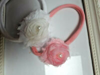 PREEMIE HANDMADE HEADBANDS WILL STRETCH TO GROWING BABY ROLLED ELASTIC &FLOWERS