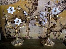 ancienne paire de chandeliers d'église en bronze et porcelaine XIXe siècle