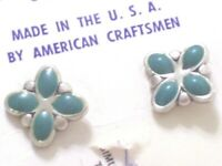 Vintage BELL Sterling Silver Turquoise 1/20 14K Gold Filled Pierced Earrings