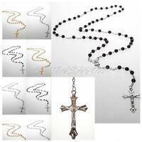 Jesus Crucifix Saints Cross Necklace Rosary Beads Necklace