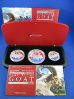 2015 Australian Lunar Series II Year of the Goat. Three Coin Set Silver Proof