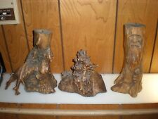 VINTAGE MADE IN USSR WOODEN STATUES CANDLE HOLDERS LOT OF 3 ART HAND MADE CARVED