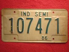 (Choice) LICENSE PLATE Semi Tag 86 1986 INDIANA 107471 472 473 etc [Z223]