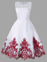 Women Lady Sleeveless Flare Dress With Arab Embroidered Evening Party Dress