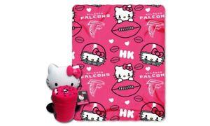 NFL 2pc Atlanta Falcons HELLO KITTY FLEECE BLANKET w/ Plush Toy Girls throw New