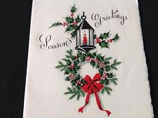 #434 Vintage Christmas Greeting Card Lantern Holly Berry Wreath Lovely!