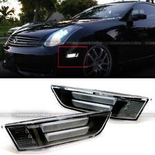 Fit 03-07 Infiniti G35 2Dr Coupe Black LED Strip Front Bumper Side Marker Lights