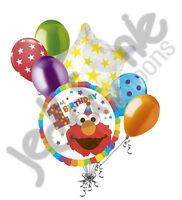 7 pc Sesame Street Elmo Happy 1st Birthday Balloon Bouquet Party Decoration One