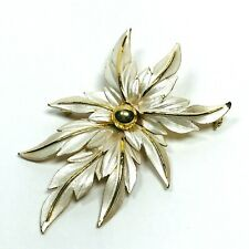 Vintage Brooch Pin Floral Flower Gold Tone White Enamel Large