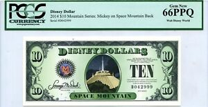 US $10 DISNEY DOLLARS 2014 MICKEY ON SPACE MOUNTAIN LUCKY MONEY VALUE $300