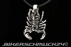 Skorpion Anhänger Edelstahl Lederband Sternzeichen Bikerschmuck Herren Geschenk