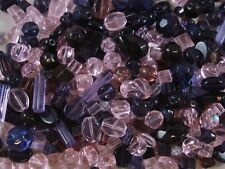 Glass Bead Mix 50g Pink/Lilac/Purple/Amethyst Asst Shapes/Sizes FREE POSTAGE