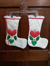 2 COUNTRY CHIC FARMHOUSE HANDMADE PRIMITIVE QUILTED CHRISTMAS STOCKINGS HEARTS