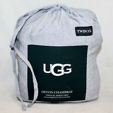 "UGG Devon Chambray Twin XL Sheet Set Fits 15"" Deep Mattress Navy"