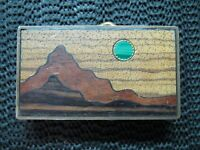 DESERT SCENE MALACHITE MOON BELT BUCKLE! VINTAGE! RARE! HAND CRAFTED! BTS! 1970s