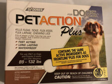 Pet Action Plus Flea Tick Treatment for Dogs 89-132 Lbs 3 Doses NEW Sealed!