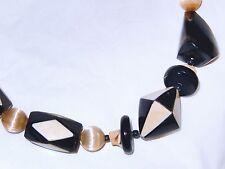 MONIES Carved Horn Bead Necklace Geometric Design Unsigned Gerda Lynggaard