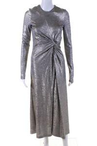 GALVAN Womens Metallic Gathered Pinwheel Maxi Dress Silver Size 2 11418289