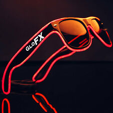 Red LED Rave EL Wire Luminescence Sunglasses Tinted Light Up Blinking Raven Eyes