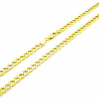 14K Real Yellow Gold 4.5MM 22in Curb Chain Cuban Link Necklace Lobster Clasp 22""