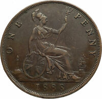 1888 UK Great Britain United Kingdom QUEEN VICTORIA Genuine Penny Coin i76988