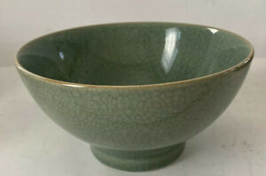 """Vintage BIA Cordon Blue Ancient Footed Blue Crackle Round Serving Bowl 7""""X3.75"""""""