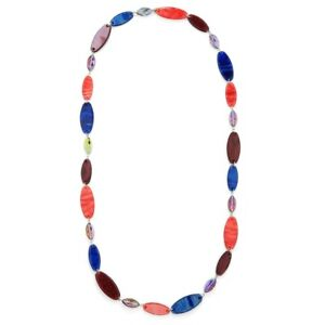New Fashion Long Lagenlook Style Statement Pebbles Colour Necklace - Red/Blue