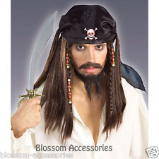W207FN Pirate Caribbean Jack Sparrow South Seas Buccaneer Mens Costume Wig
