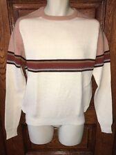 Mint! NOS Vintage ROB WINTER Cream Striped Crew Neck Acrylic Ski SWEATER Size L